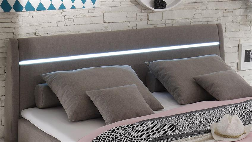 Boxspringbett ORLANDO Bett schlamm inkl. LED 180x200
