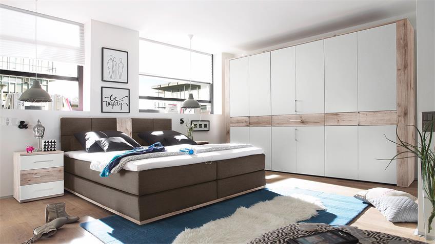 Schlafzimmer TAMPA Bett Schrank Nako in Sandeiche