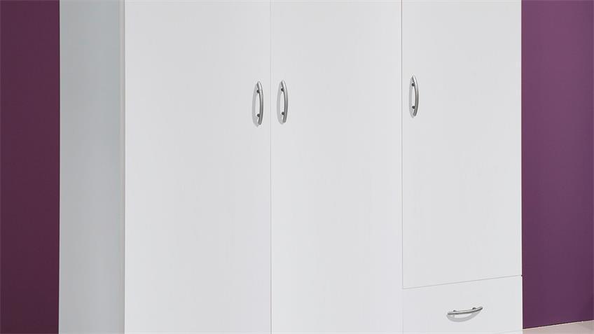 Kleiderschrank BASE 3 Schrank Schlafzimmerschrank weiß 120