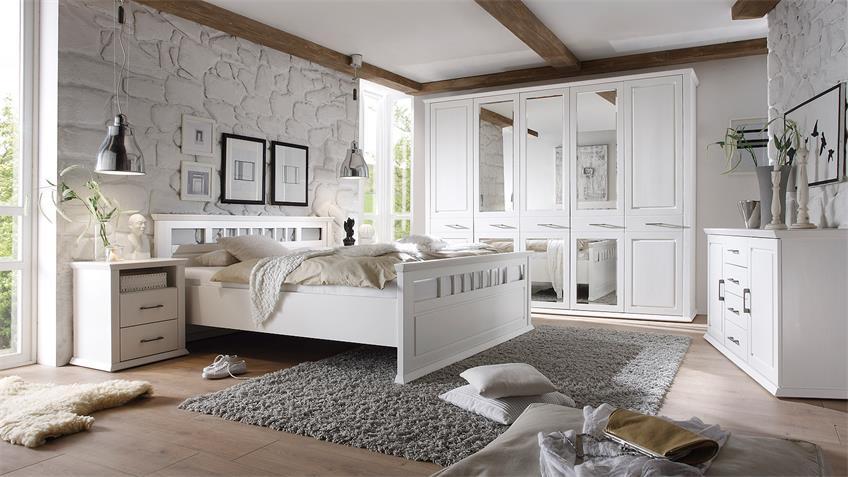 Bett EMMA in Kiefer teilmassiv weiß Schlafzimmerbett 180x200