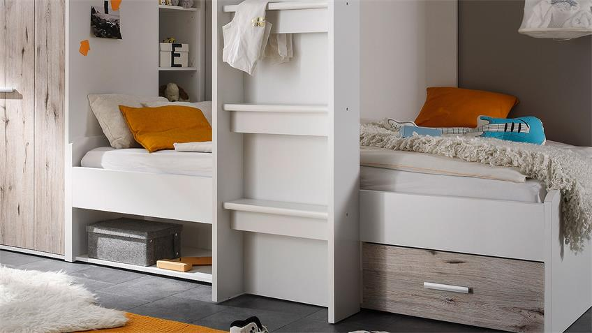 Hochbett MAXI Kinderbett Etagenbett weiß Sandeiche 90x200