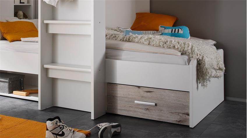 etagenbett maxi kinderbett hochbett bett wei und sandeiche 90x200 cm. Black Bedroom Furniture Sets. Home Design Ideas