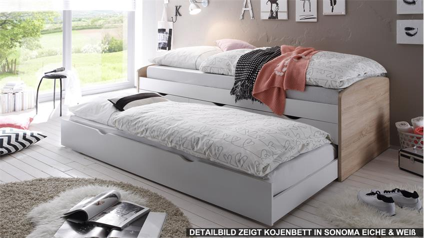 kojenbett nessi kinderbett hochbett wei sandeiche 90x200. Black Bedroom Furniture Sets. Home Design Ideas