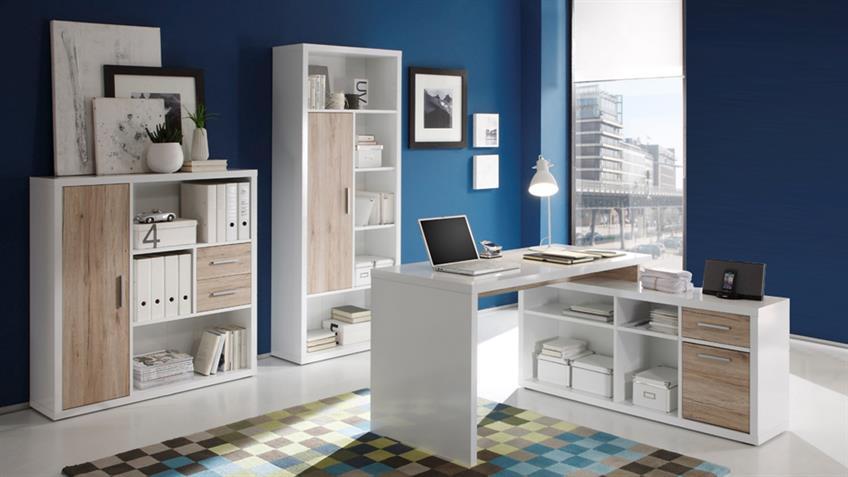 Büro-Set TOKYO 3-teilig weiß glänzend und San Remo Eiche