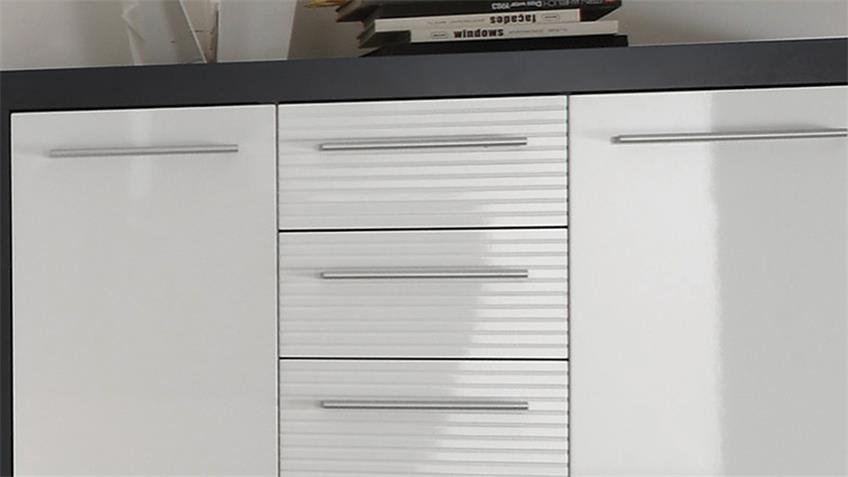 Kommode KOLIBRI 3 Weiß Hochglanz und Grau B 117 cm