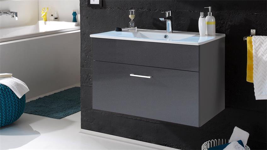 Waschbeckenunterschrank SPLASHI in grau inkl. Waschbecken 80 cm