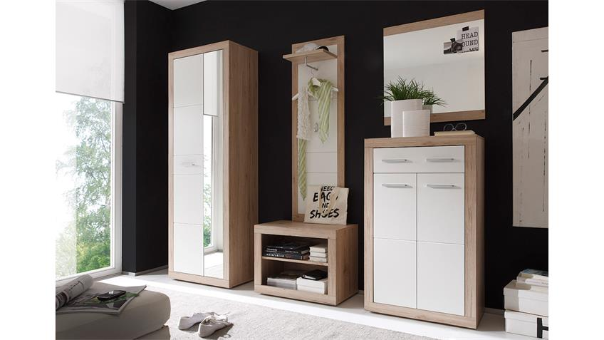 Garderobe CAN CAN 5 Spiegel in Sonoma Eiche weiß 5-teilig