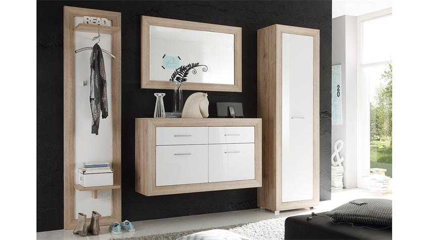 garderobe fernando sonoma eiche mdf wei hochglanz 4 tlg. Black Bedroom Furniture Sets. Home Design Ideas