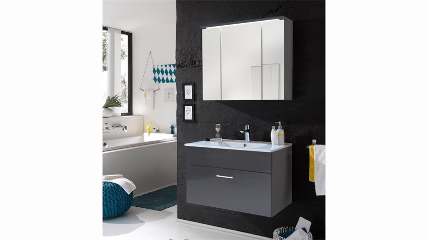 Badezimmer Set  SPLASHI in Grau inkl. Waschbecken 3-Teilig