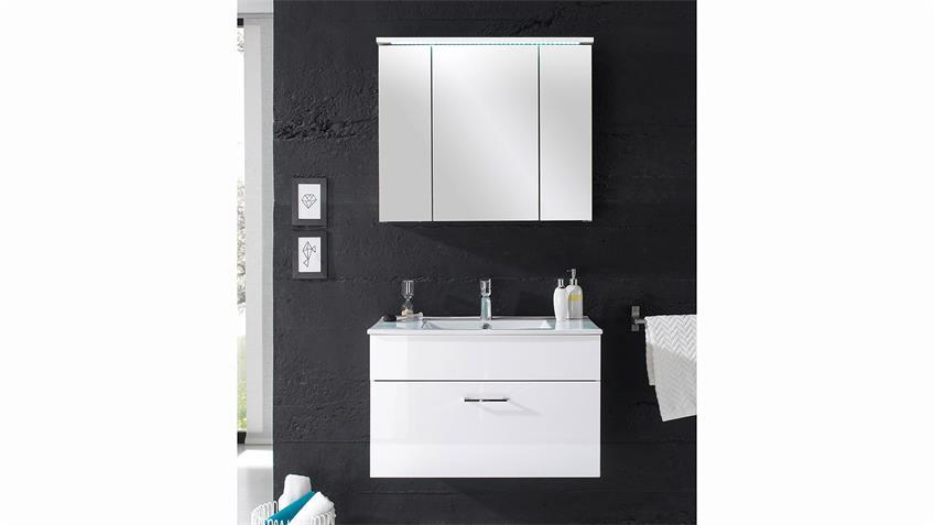 Badezimmer SPLASHI weiß Hochglanz inkl. Becken und LED 2-teilig 80 cm