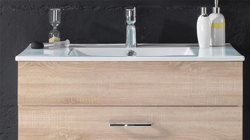 Waschbeckenunterschrank SPLASHI Sonoma Eiche inkl. Waschbecken 80 cm