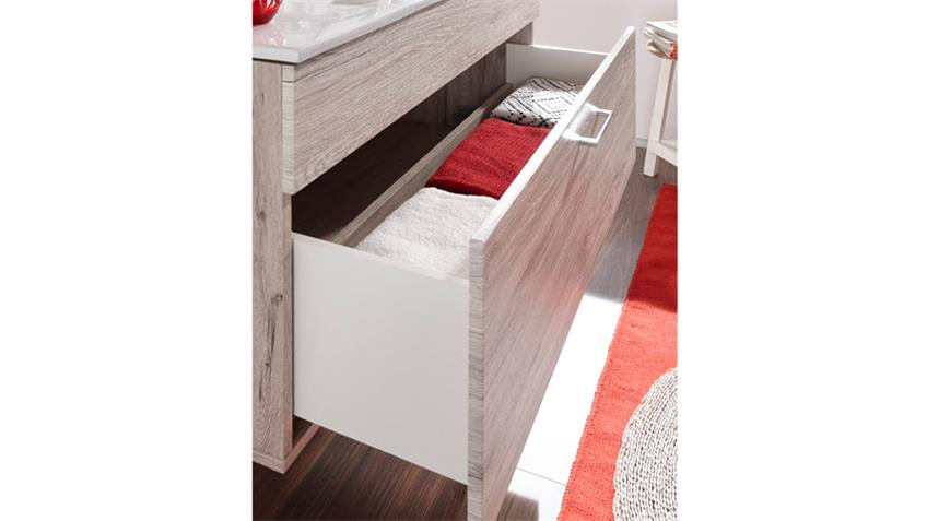 waschbeckenunterschrank splashi sonoma eiche inkl waschbecken 80 cm. Black Bedroom Furniture Sets. Home Design Ideas