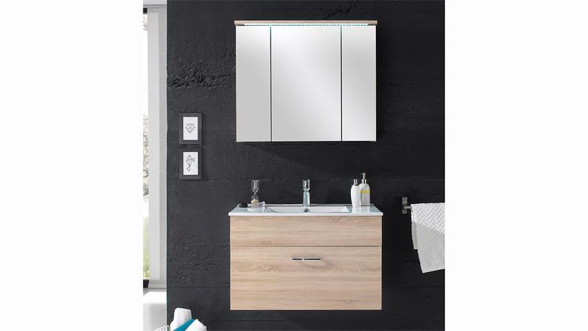 Badezimmer SPLASHI in Sonoma Eiche inkl. Becken und LED 2-teilig 80 cm