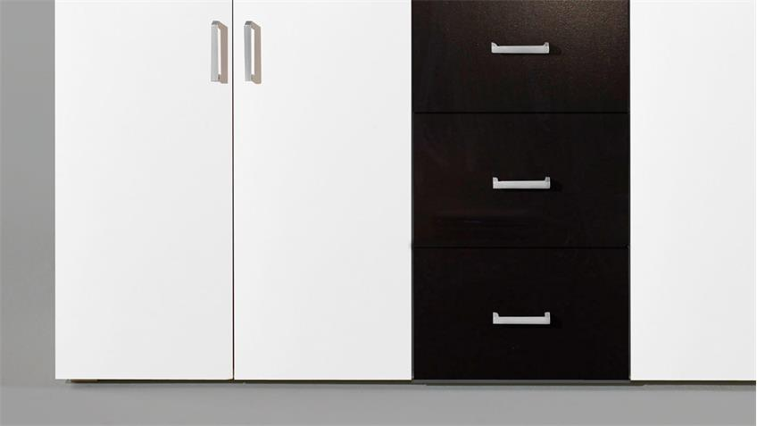 Kommode LIFT 4-türig weiß und schwarz mit 3 Schubkästen inkl. Aufsatz