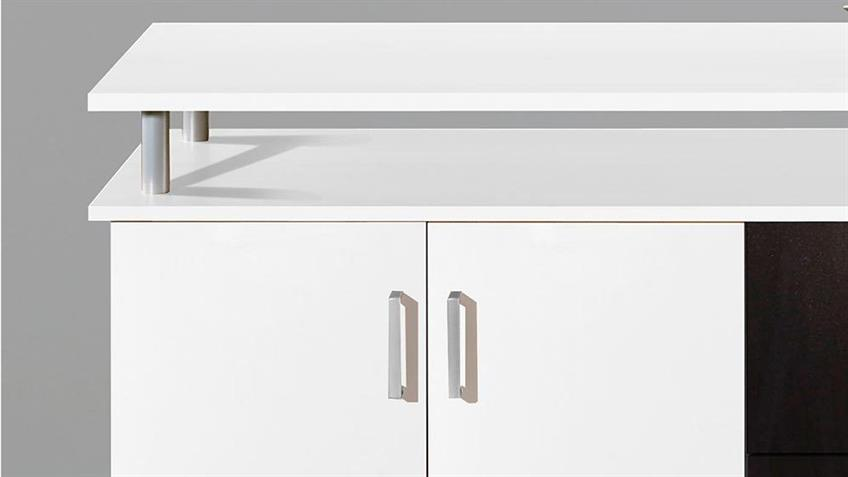 Sideboard Lift Kommode Anrichte in weiß 4-türig 3 Schubkästen
