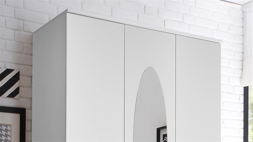 Kleiderschrank Paule 3-trg weiß mit Spiegel Schubkästen 120