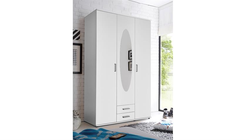 Kleiderschrank PAULE 3 Türen mit Spiegel und 2 Schubkästen in weiß