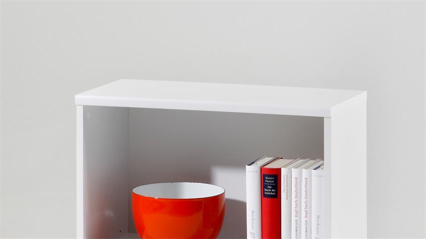 Regal LILLY 1 in weiß Büroregal Bücherregal 2 Fächer