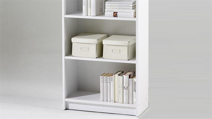 Regal LILLY 4 weiß Dekor Bücherregal 6 Fächer 202 cm hoch
