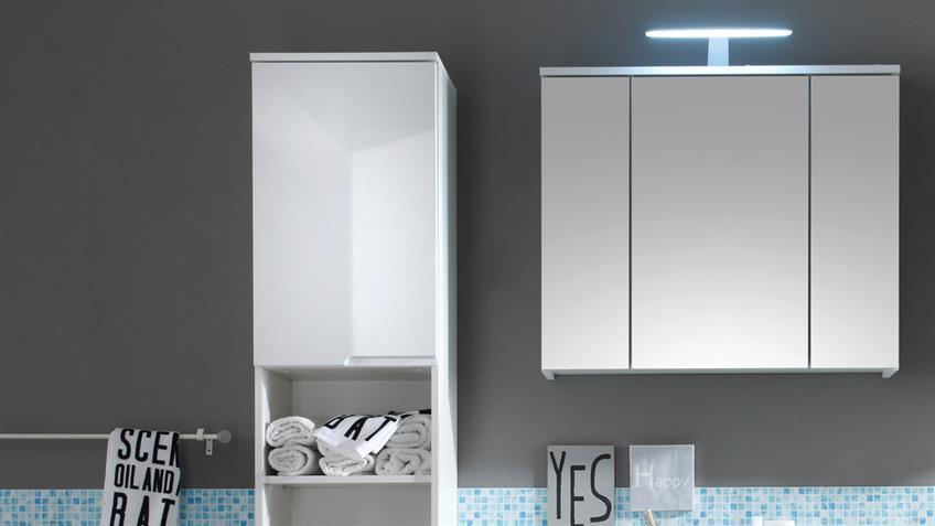 Badezimmerset SPICE 3-teilig in weiß hochglanz mit  LED