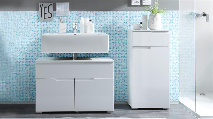 Badezimmerset SPICE 4-teilig in weiß hochglanz mit LED