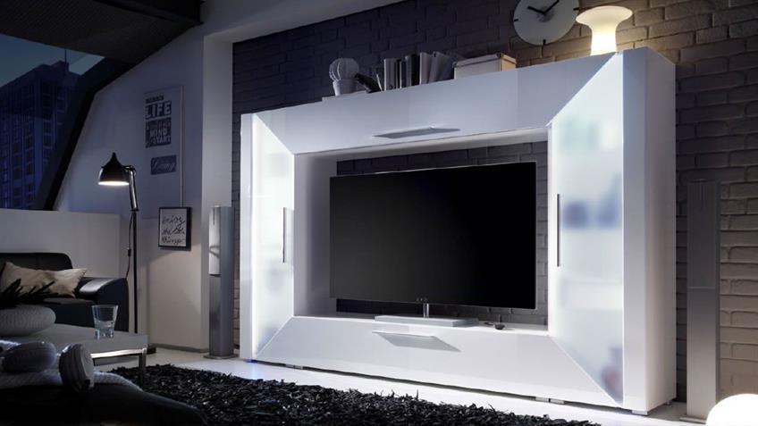 Mediawand EDGE Wohnwand weiß Hochglanz mit Ambiente RGB LED