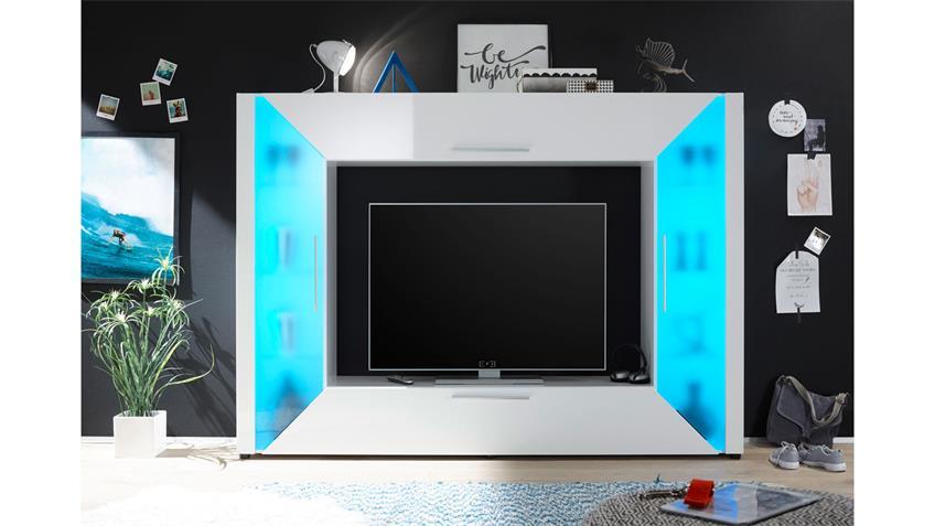 Mediawand Edge weiß Hochglanz mit Ambiente Beleuchtung