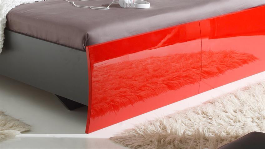 Bettanlage ROSSO Lava rot Hochglanz Bett 180x200 2 Nachtkonsolen