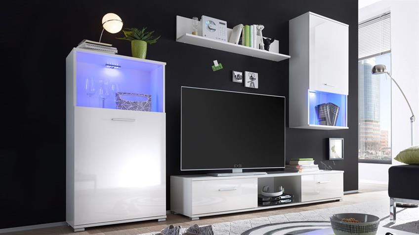 Wohnwand LUCKY LUX Front weiß Hochglanz mit RGB LED