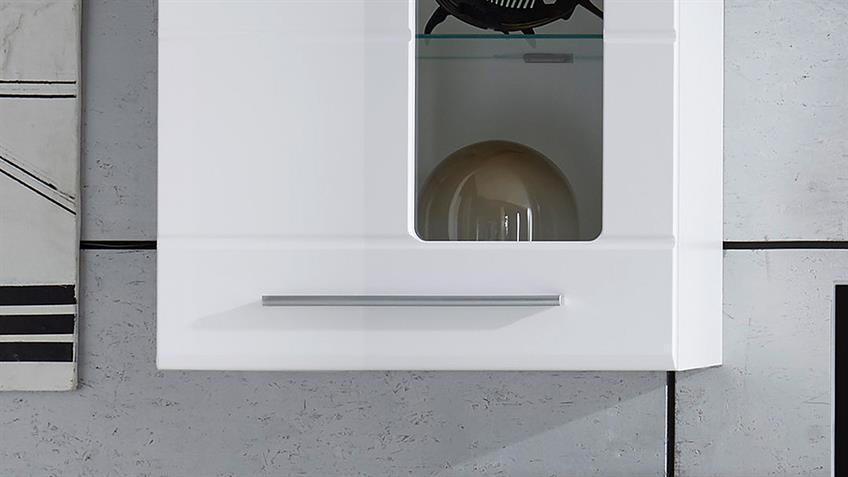Wohnwand ENRIQUE 2 Hochglanz weiß 2 Hängevitrinen mit LED