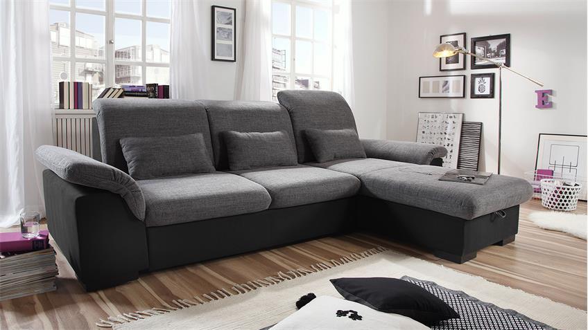 Ecksofa BRANDON Sofa schwarz anthrazit Schlaffunktion Bettkasten