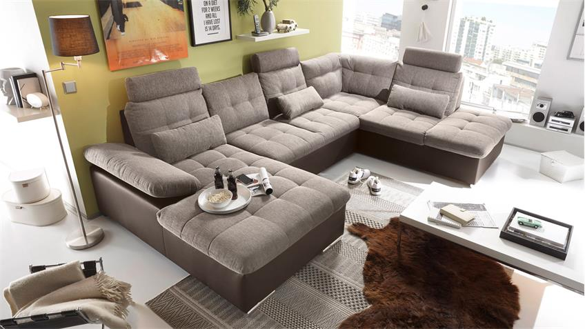 Wohnlandschaft rechts JAKARTA Sofa braun hellbraun Funktion