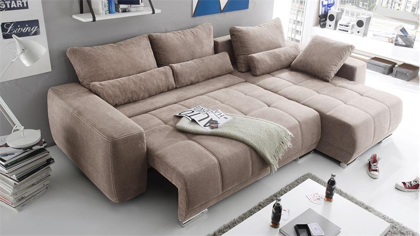 Ecksofa LOPEZ Sofa Wohnlandschaft taupe mit Schlaffunktion