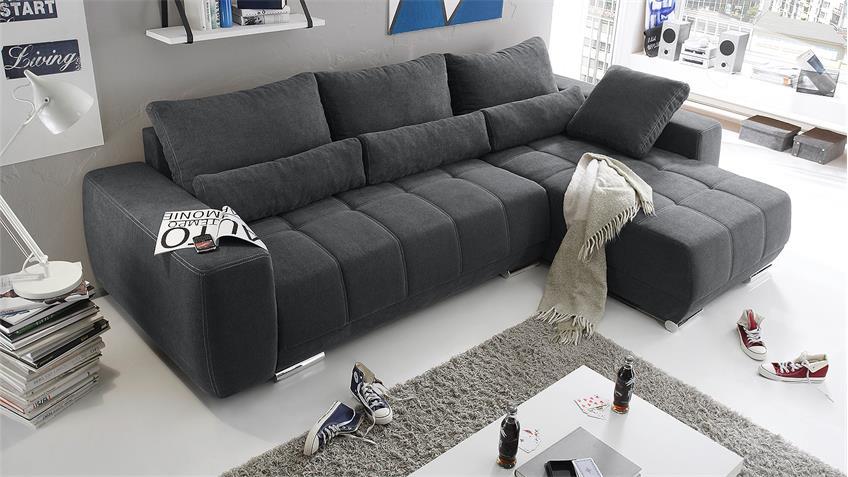 Ecksofa LOPEZ Sofa Wohnlandschaft anthrazit Schlaffunktion