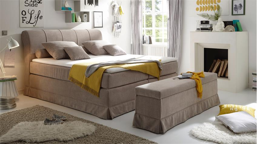 Boxspringbett CARSON 1 Bett in beige mit Topper 180x200