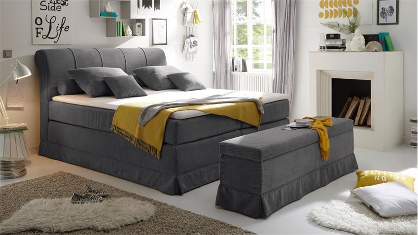 Boxspringbett CARSON 1 Bett in anthrazit mit Topper 180x200