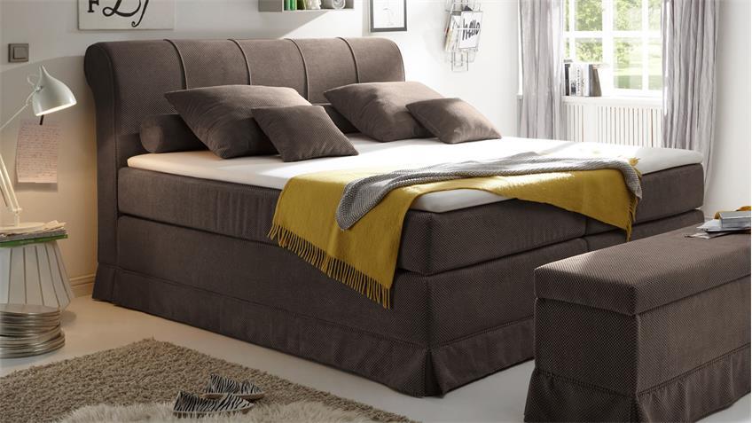 Boxspringbett CARSON 1 Bett in braun mit Topper 180x200