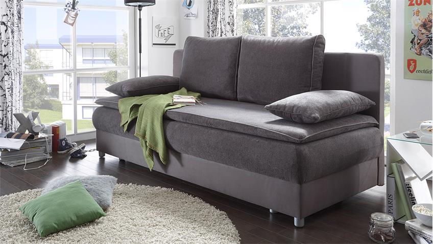 Schlafsofa SVENJA Sofa in grau und dunkelgrau mit Bettkasten