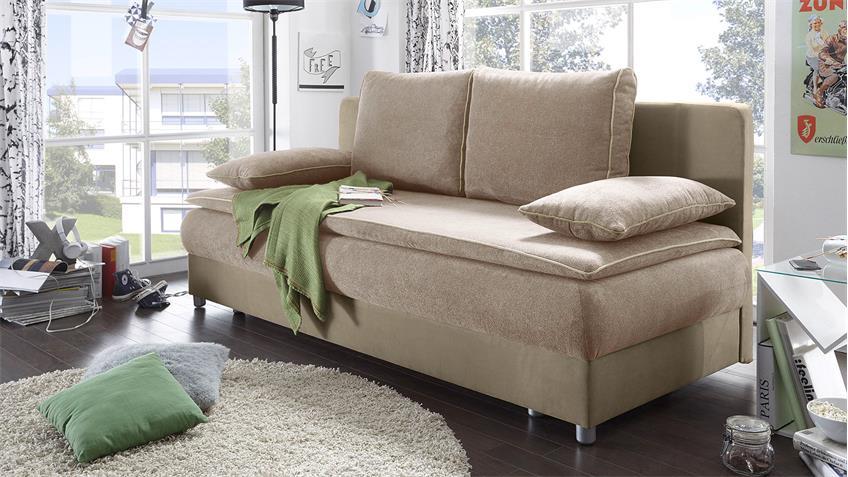 Schlafsofa SVENJA Sofa in beige braun mit Bettkasten