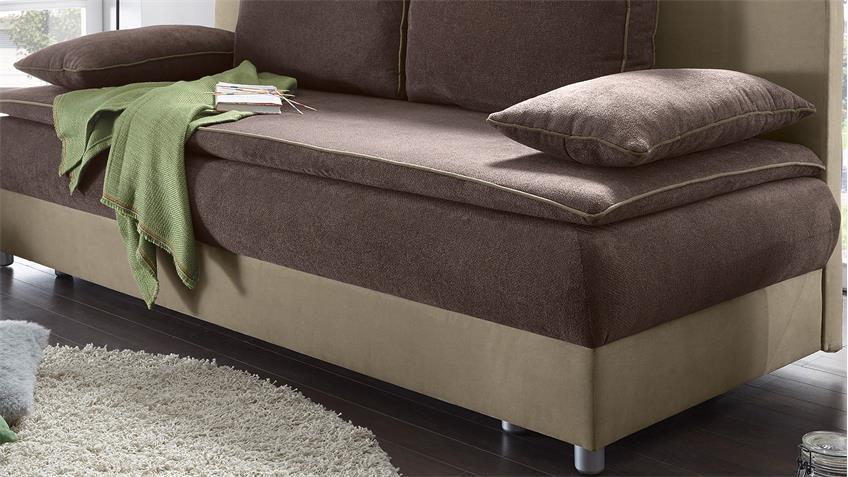Schlafsofa SVENJA Sofa in braun und beige mit Bettkasten