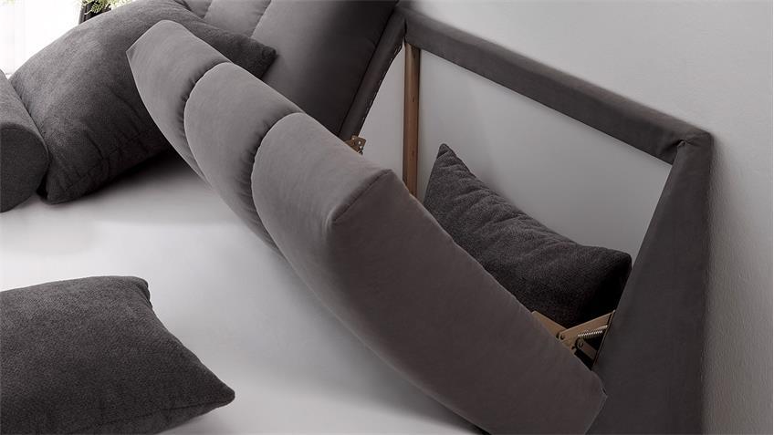 Boxspringbett BALTIMORE 1 Bett grau dunkelgrau Topper 180x200