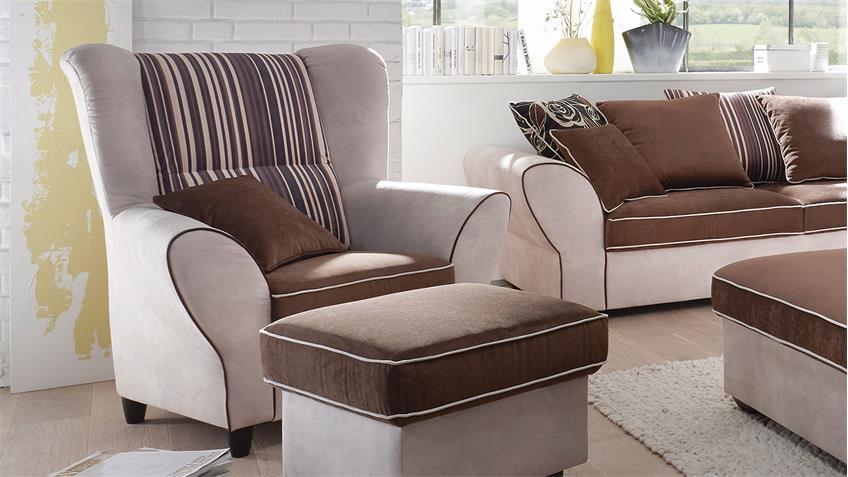 Sessel COUNTRY Polstersessel Sofa Einzelsessel beige braun