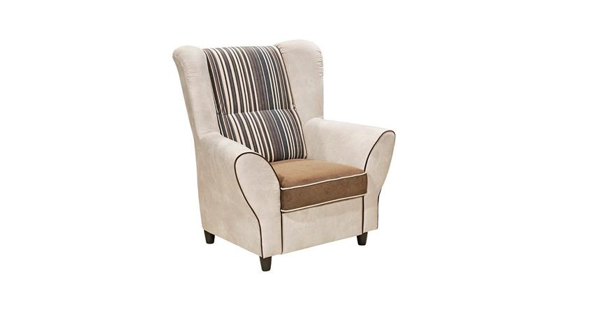 Sessel COUNTRY Polstersessel Sofa Einzelsessel beige braun