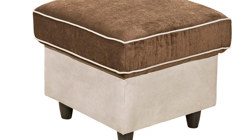 Hocker COUNTRY Polsterhocker Fußhocker in beige braun 55 cm