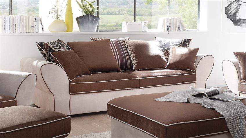 2,5-sitzer country polstersofa wohnzimmer beige braun - Wohnzimmer Ledersofa Braun