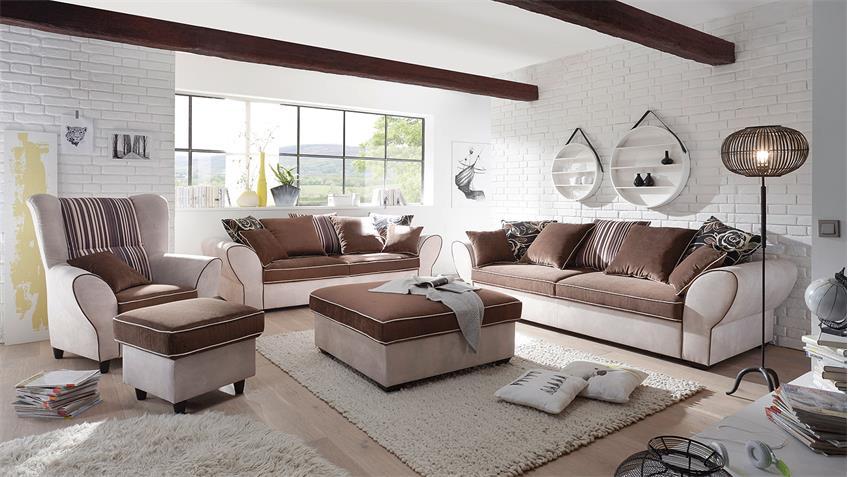 Sofa 2,5-Sitzer COUNTRY Polstersofa Wohnzimmer beige braun