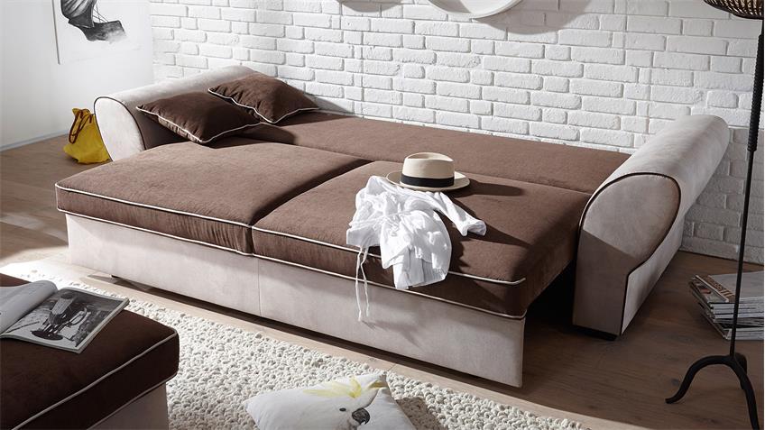 Sofa 3-Sitzer COUNTRY Polstersofa beige braun mit Funktion