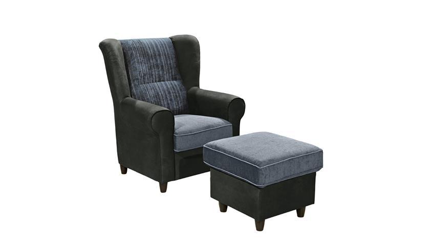 Sessel CANYON Einzelsessel Sofa Polstermöbel in schwarz blau