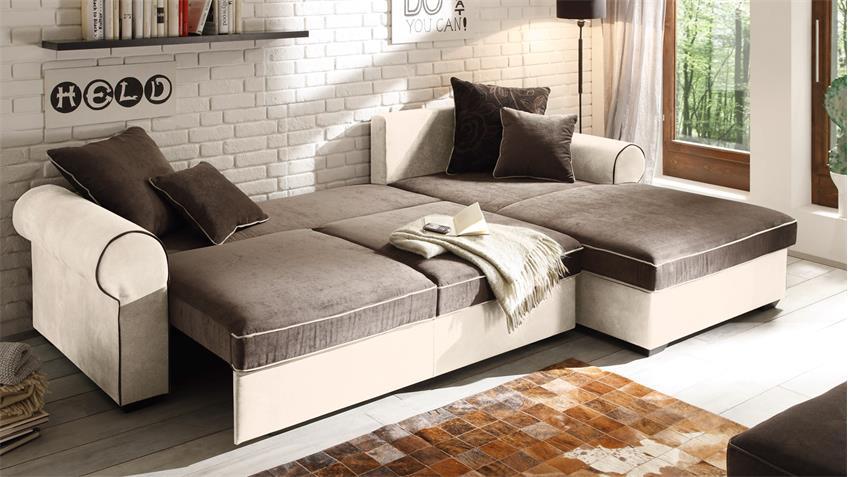 Ecksofa CANYON Wohnlandschaft Sofa beige schwarzbraun Funktion