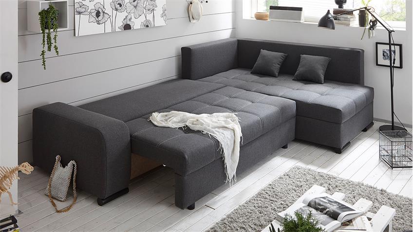 Ecksofa LUKAS Wohnlandschaft Sofa in anthrazit mit Funktion